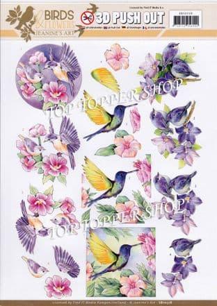 Tropical Birds A4 Die Cut Decoupage Sheet Jeanine's Art Push Out SB10318