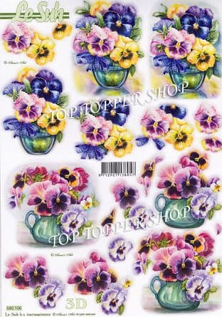 Vases of Pansies A4 Die Cut Decoupage Sheet Le Suh 680.106