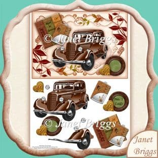 Vintage Brown Car Topper And Decoupage Printed Sheet