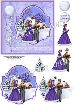 VINTAGE CAROL SINGERS IN WINTER Christmas Decoupage printed sheet 354