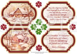 VINTAGE CHRISTMAS SCENES Toppers & Insert Plaques Red 1 printed sheet 547vwc