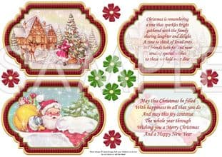 VINTAGE CHRISTMAS SCENES Toppers & Insert Plaques Red 2 printed sheet 551vwc