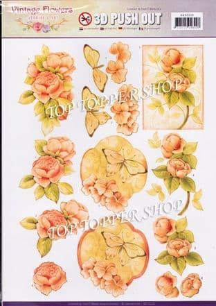 Vintage Flowers A4 Die Cut Decoupage Sheet Jeanine's Art Push Out SB10239