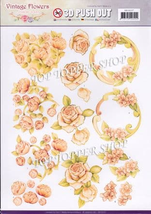 Vintage Flowers Romance A4 Die Cut Decoupage Sheet Jeanine's Art Push Out SB10237