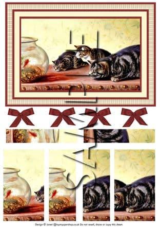 VINTAGE KITTENS LUNCH SIDE STACKER DECOUPAGE  digital download