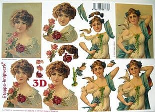 VINTAGE LADIES DECOUPAGE SHEET LE SUH 645