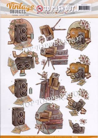 Vintage Objects Photography Die Cut Decoupage Sheet Yvonne Creations Push Out SB10254