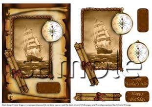 Vintage Ship In Sepia Decoupage Sheet