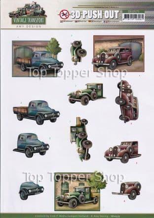 Vintage Transport  Die Cut Decoupage Sheet Amy Design Push Out SB10575