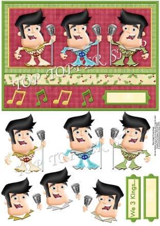 WE 3 KINGS Humorous Christmas Decoupage printed sheet 340
