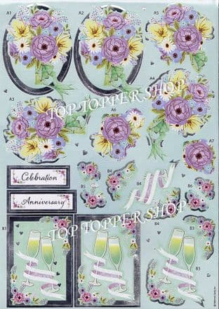 Wedded Bliss Anita's Foiled Die Cut Decoupage Sheet 169917