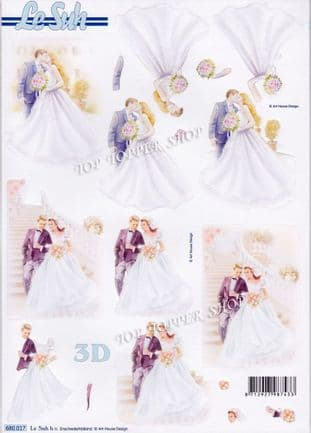 Wedding Bride & Groom A4 Die Cut Decoupage Sheet Le Suh 680.017