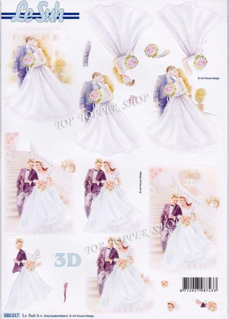 Wedding Bride & Groom A4 Die Cut Decoupage Sheet Le Suh 680.017