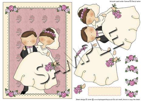WEDDING BRIDE & GROOM DECOUPAGE  sheet