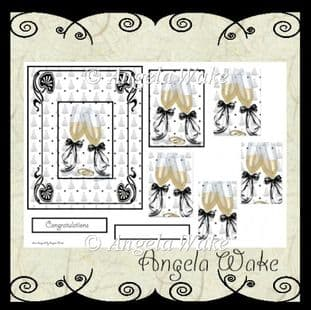 WEDDING CHAMPAGNE pyramid decoupage sheet AW40