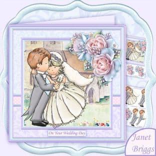 Wedding Day Bride & Groom Hugs 8x8 Decoupage Card Making Download by Janet Briggs