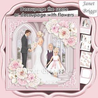 WEDDING GROUP PINK 7.5 Decoupage Card Kit digital download
