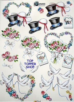 WEDDING HATS, BOUQUET & DOVES HOBBY POST DECOUPAGE 250