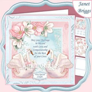 WEDDING VERSE & SWANS 7.5 Decoupage Card Kit digital download