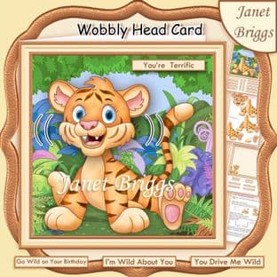 WILD ABOUT YOU TIGER WOBBLY HEAD Card Kit digital download