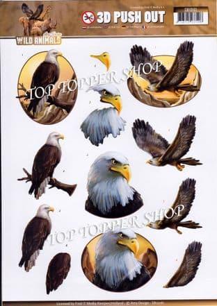 Wild Animals Birds of Prey A4 Die Cut Decoupage Sheet Amy Design Push Out SB10161