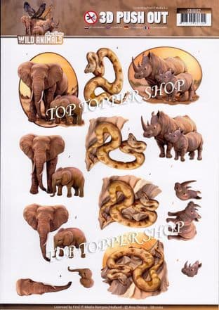 Wild Animals Die Cut Decoupage Sheet Amy Design Push Out SB10162