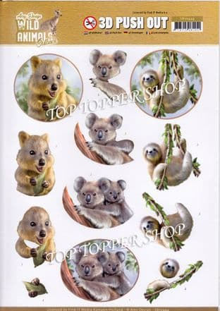 Wild Animals Outback Die Cut Decoupage Sheet Amy Design Push Out SB10444