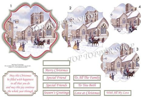 Winter Church Christmas  Card Topper & Pyramage printed sheet TTSJB20