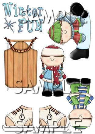 Winter Kids Fun Exclusive Clipart Toppers Printed Sheet
