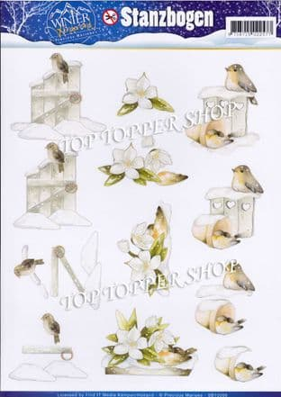 Winter Wonderland Robins A4 Die Cut Decoupage Sheet Precious Marieke Push Out SB10066