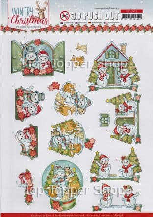 Wintry Christmas  Die Cut Decoupage Sheet Yvonne Creations Push Out SB10578