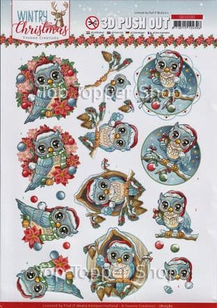 Wintry Christmas  Owls Die Cut Decoupage Sheet Yvonne Creations Push Out SB10580