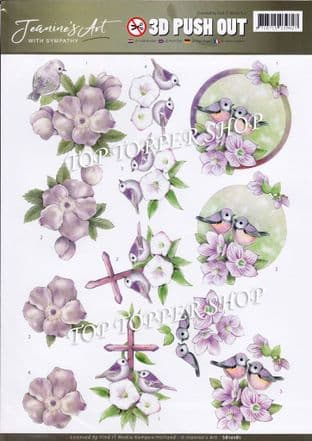 With Sympathy  Birds & Flowers A4 Die Cut Decoupage Sheet Jeanine's Art Push Out SB10181