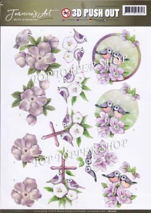 With Sympathy  Birds & Flowers A4 Die Cut Decoupage Sheet Jeanine's Art Push Out SB10181
