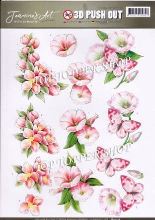 With Sympathy  Pink Flowers A4 Die Cut Decoupage Sheet Jeanine's Art Push Out SB10179