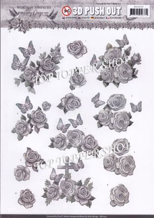 Words of Sympathy Roses A4 Die Cut Decoupage Sheet Amy Design Push Out SB10313