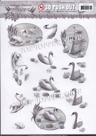 Words of Sympathy Swans A4 Die Cut Decoupage Sheet Amy Design Push Out SB10315