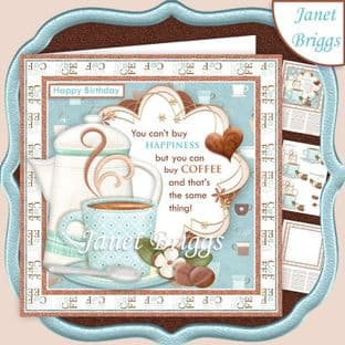 YOU CAN BUY COFFEE Humorous 7.5 Decoupage Card Kit digital download