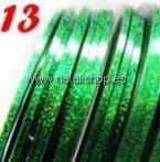 Cinta fina decoración color 13 - verde con destellos