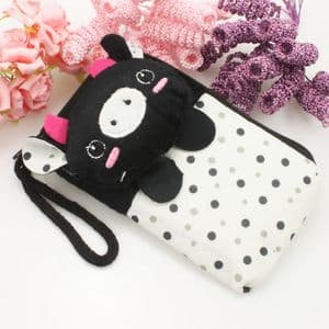 Bag for holding mobile phone., Cloth, black, white, 12.5cm x 7.5cm, 1  piece, (SB177)