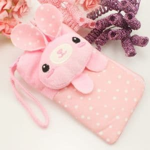 Bag for holding mobile phone., Cloth, pink, 13.5cm x 8cm, 1  piece, (SB180)