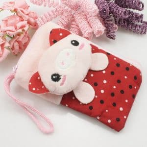 Bag for holding mobile phone., Cloth, pink, white, 14cm x 8cm, 1  piece, (SB181)