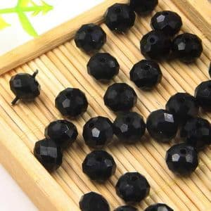 Beads, Auralescent Crystal, Crystal, Black , Faceted Discs, 8mm x 8mm x 6mm, 5 Beads, [ZZC170]