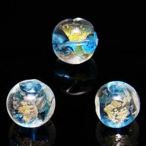 Beads, Foiled Glass Beads, Lampwork glass, Blue , Gold colour , Faceted Rounds, Diameter 12mm, 1 Bead, [LLZ037]