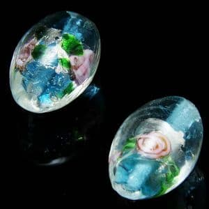 Beads, Foiled Glass Beads, Lampwork glass, Blue , Silver colour , Oval, 15mm x 11mm, 1 Bead, [LLZ055]