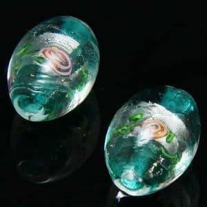 Beads, Foiled Glass Beads, Lampwork glass, Teal , Silver colour , Oval, 15mm x 11mm, 1 Bead, [LLZ059]
