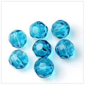 Beads, Glass, Blue , Faceted Rounds, Diameter 6mm, 10 Beads, [ZZF0008]