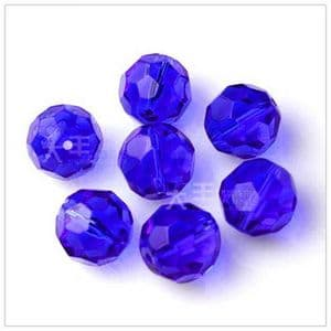 Beads, Glass, Dark blue , Faceted Rounds, Diameter 6mm, 10 Beads, [ZZF0011]