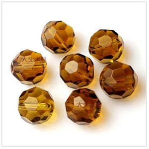 Beads, Glass, Light brown , Faceted Rounds, Diameter 6mm, 10 Beads, [ZZF0002]