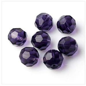 Beads, Glass, Purple , Faceted Rounds, Diameter 6mm, 10 Beads, [ZZF0005]